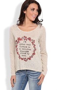 Deb Shops long sleeve tulip back top with lace back inset and coral floral screen $17.92