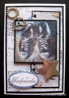 konfirmation Teenager, Masculine Cards, Cardmaking, Birthday Cards, Homemade, Sneakers, Sports, How To Make, Inspiration