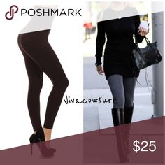 Best Selling Compression Tummy Control Leggings Amazing fit contours waistline empire high waist smooths bulges. Best high waist compression leggings . Contour your waistline . One size fits most . Will fit size small through 14. Super stretchy French Terry lined . This listing is for brown . Available in charcoal black  navy and burgundy . Pants Leggings