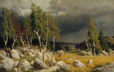 Finnish National Gallery - Art Collections - A Clearing, Uusimaa Landscape ; Burnt Clearing, Landscape from Uusimaa by Fanny Churberg Helene Schjerfbeck, Chur, Cool Landscapes, Landscape Paintings, Dark & Stormy, New Nightmare, National Gallery, Alone In The Dark, Eye Of The Storm
