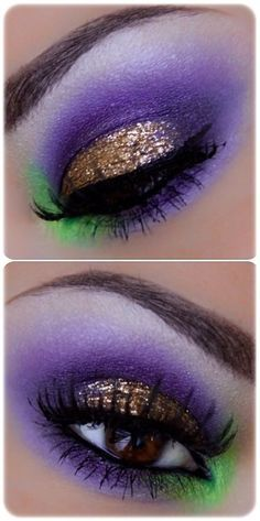 Beautiful, bold pops of purple, green and gold! Great mardi gras look.