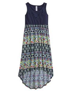 Printed High Low Maxi Dress