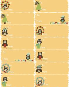 Freebie: Owl Christmas Stationery and Gift Tags by MyOwlBarn