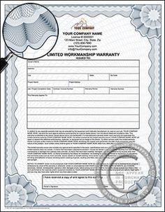 Warranty certificate archives free premium 123 certificate limited workmanship warranty certificate contractor forms home improvement construction single bus yelopaper Choice Image