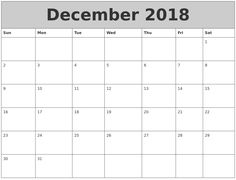 2018 December Calendar Excel Printable Template School