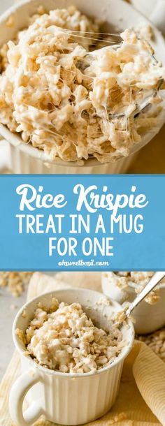 Kids love them. Adults love them. They are a great dessert to feed a crowd, but what if you just need a quick Rice Krispie treat fix but don't want a whole pan of them tempting you all week long? My sister and her family make little Rice Krispie treats in Tolle Desserts, Köstliche Desserts, Great Desserts, Delicious Desserts, Yummy Food, Healthy Food, Mug Recipes, Sweet Recipes, Cooking Recipes