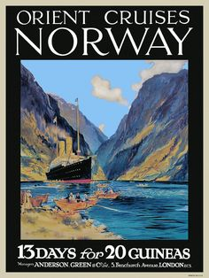 travel to norway poster | transpress nz: Orient Cruises poster, Norway
