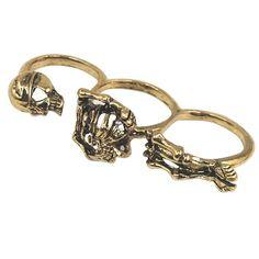 Vintage Bronze 3 Finger Punk Rock Style Skeleton Skull Ring