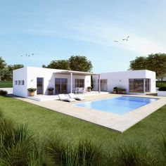 Villa Design, Modern House Design, Pool House Plans, Casas Containers, Mediterranean Homes, Pool Houses, Future House, Architecture Design, New Homes