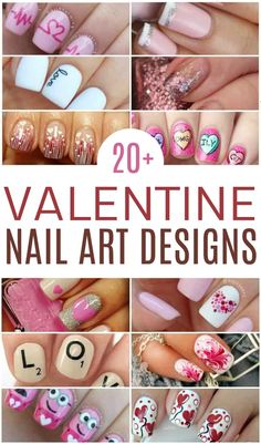Valentine's Day is the perfect excuse to rock some pink, red, and heart nails. So many in this round-up from easy and classy to a little more intricate. Classy Nail Designs, Cute Nail Art Designs, Pink Nail Designs, Heart Nail Art, Heart Nails, Trendy Nails, Cute Nails, Diy Nails, Valentine Nail Art