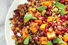Recipe: Moroccan sweet potato salad—A main course, Moroccan-inspired red quinoa salad made with a zesty Harissa (hot chili paste) dressing.