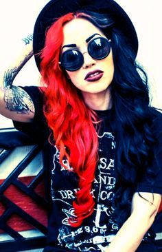 Trendy hair color pastel half and half ideas Blue And Red Hair, Hair Color For Black Hair, Cool Hair Color, Dark Hair, Hair Colors, Half Colored Hair, Half And Half Hair, Split Dyed Hair, Half Dyed Hair