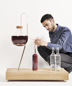 This all-in-one kit, called House Wine (...) is as beautiful as it is easy to use. All of the equipment needed for nurturing the fermentation process, siphoning the wine, and bottling and corking is stored within the base of the unit. And the design is smart enough that it makes items such as funnels, bottle cleaners, and stirrers extraneous. Less equipment also means fewer things to sterilize and therefore less work.