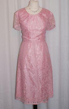 Vintage 1950s pink lace A line cocktail party dress L XL rockabilly VLV by OuterLimitz on Etsy