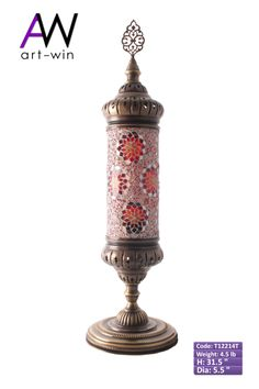 Handmade Red Cylindrical Mosaic Table Lamp - T12214T ArtWinLighting.com