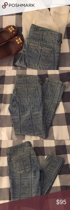 "🌲SALE! Free People Print Jeans EUC Free People Aztec Print Skinny Jeans. These amazing jeans have a print bleached into them, almost looking like a henna type print. They are made of 77% cotton, 21% polyester, and 2% spandex. They measure 15.5"" flat across the waist, have an 8"" rise, and a 27"" inseam. So different! Free People Jeans Skinny"
