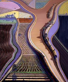 I love Thiebaud's landscapes (Brwon River pictured) with their weird perspective shifts and fantastic colors.