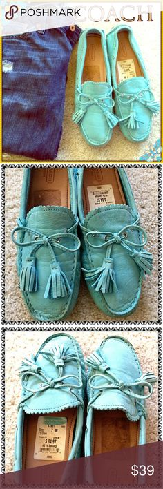 COACH Light Cyan Color Leather Moccasins 💙 GORGEOUS All Leather Uppers COACH Moccasins. Very Little Wear! EUC!! BEAUTIFUL Light Cyan Color! Originally SOLD FOR about $160. Sold on Nordstrom Rack for just under $85. Tag is Still On! Great Deal! 👍🏼😍 Coach Shoes Moccasins