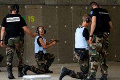 Gendarmerie trains reservists shooting at the military camp  of Beynes in Yvelines, on 19 July 2016. La gendarmerie entraine des réservistes au tir au camp militaire de Beynes dans les Yvelines, le 19 juillet.