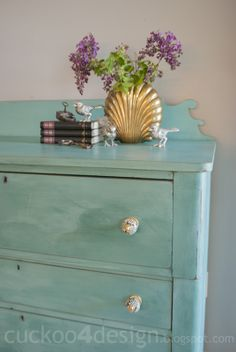 blue green chalk paint dresser with gold accents by cuckoo4design