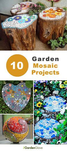10 Garden Mosaic Projects • Lots of Ideas Tutorials! Something to do with the tree stump in the lawn perhaps?