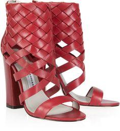 Camilla Skovgaard Woven Block Heel Shoe Boot in Red