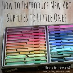 {How to Introduce New Art Supplies to Little Ones} Introducing new art supplies can be tricky. While you may have all sorts of ideas about how your little one will react, the reality can be a bit different. The trick to a successful introduction is taking into consideration both your little one's personality & development level, as well as the new art supply. Read on for our tips and see which I chose when introducing a new creative tool - pastels - to my preschooler. craftingconnections.net