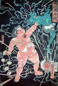歌川国芳:本朝武者鏡/怪童丸 (雷神を捕まえる怪童丸)Kai Doh Maru to catch the Thunder God