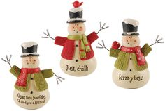 3 Piece Snowmen with Sweaters Figurine Set (Set of 2)