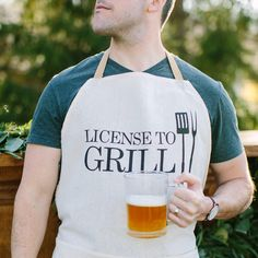 Apron, License To Grill, present, grilling apron, menswear, housewarming gift, kitchen decor by PCBHome on Etsy https://www.etsy.com/listing/233457781/apron-license-to-grill-present-grilling
