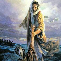 This is my FAVORITE portrait of Jesus pulling Peter out of the water