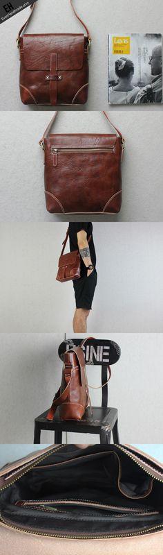 Handmade leather Briefcases men messenger Coffee small shoulder bag vintage bag for him