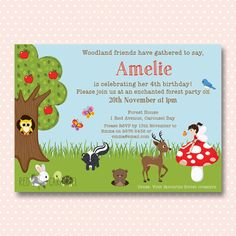 Woodland Invitation  Personalised Birthday by RedCarouselShop, $12.00