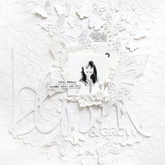 Monochromatic White Layout for Kerri Bradford   @paigeevans #scrapbooking
