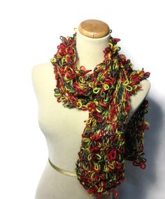 Knit Scarf, Hand Knit Scarf, Red And Green Scarf, Fashion Scarf, Jewel Tones Scarf, Womens Scarf, Fiber Art, Knitted Scarf - pinned by pin4etsy.com