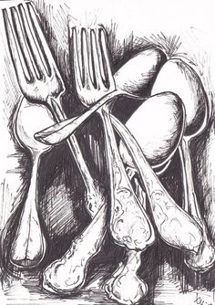 i like this idea of the monochromic detailed drawing of the cutlery and the dark space behind it.