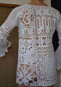 Do Not Reply crochet tunic Crochet Tunic, Crochet Jacket, Freeform Crochet, Crochet Beanie, Crochet Clothes, Knit Crochet, Russian Crochet, Irish Crochet, Chicos Fashion