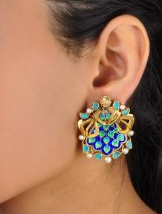 Turquoise & Meenakari Earrings