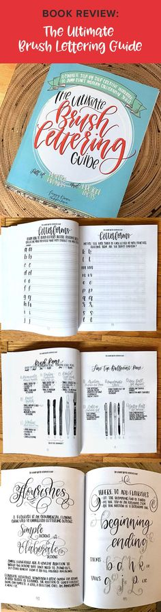 I highly recommend this book to anyone who wants to start learning brush lettering, as well as those who have been practicing for a while. This book teaches you brush lettering step-by-step, as well as which tools to use, how to add flourishes and illustr Lettering Guide, Doodle Lettering, Creative Lettering, Lettering Tutorial, Brush Lettering, Calligraphy Tutorial, Lettering Ideas, Script Lettering, Lettering Styles