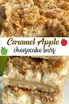 Caramel apple cheesecake bars with creamy apple cheesecake, brown sugar oat crumble, and caramel sauce. So irresistibly good and perfect apple dessert. Apple Desserts, Fall Desserts, Apple Recipes, Fall Recipes, Gourmet Recipes, Dessert Recipes, Healthy Recipes, Caramel Apple Cheesecake Bars, Cheesecake Recipes