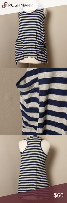 Ella Moss Racer Back Striped Top Cute and relax top with side pockets. 30-inch long. Tops Tank Tops