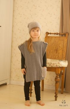 KNITTING PATTERN poncho with a pocket and matching slouch hat