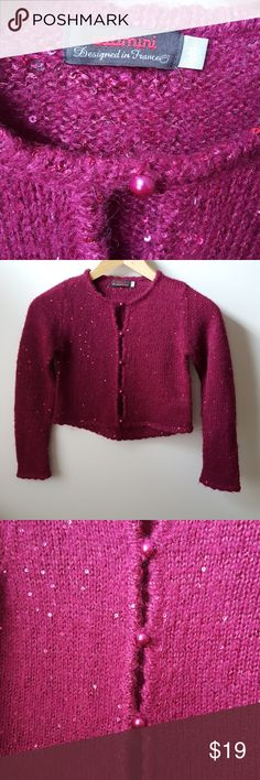 8 yrs Catimini sparkle sequin sweater Super cute Girl's European design sweater Classic French children's clothes Purple/ magenta Excellent used condition - worn once Polyester wool & mohair Catimini Shirts & Tops Sweaters