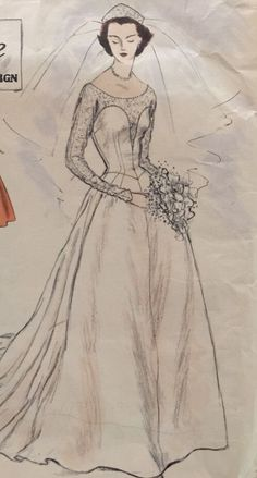 Stunning Hollywood Glamour 1953 Vogue Couturier Wedding Gown Dress Complete 704 | eBay