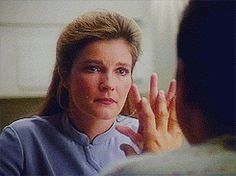 Janeway and Chakotay  after Angry Warrior Speech (in other words one of the most touching speeches EVER)
