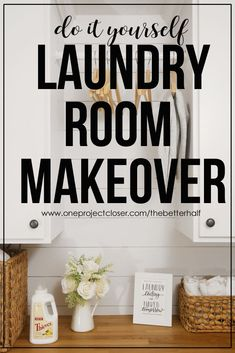 LOVING this beautiful before and after DIY laundry room makeover from One Project Closer! Plus get a free printable! via @JocieOPC