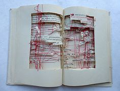 out of the constitution (Ines Seidel) Tags: red rot thread altered buch book words sewing text alteredbook ddr constitution recycling worte garn binding gdr bookart binden nhen verfassung bookrecycling buchkunst buchrecycling vision:text=0667 vision:outdoor=094