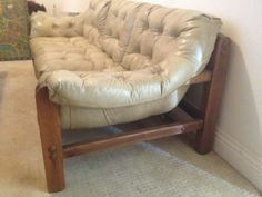 Vintage Tufted Sofa With Oak Frame- pick up asap Sunday - $50 (inner sunset / UCSF)