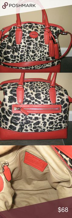Coach Ocelot Print Rory 2 Way  Satchel #19988,  14 by 14 inches, 2 slide and 1 zipper pockets inside. Outside back has a zipper pocket. Black and white animal print with red leather trim. 2 red tassels, black FOB and long strap included. Inside has a couple spots, nothing horrible, Bottom has 4 ink tiny dots but 1 corner has what looks like a bit of gray paint? Corners have very  little wear. Overall this is a nice bag and hard to find. This was definitely an expensive bag by the leather…