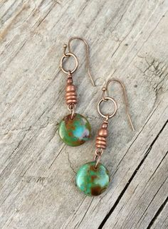 Green Coin Drop Earrings